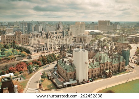 Ottawa city skyline view with historical buildings in black and white - stock photo