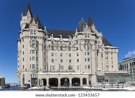 OTTAWA - JANUARY 1: The Fairmont Chateau Laurier hotel January 1, 2013 Ottawa, Ontario, Canada. The hotel was opened by Sir Wilfrid Laurier, Canada's seventh Prime Minister on June 1, 1912