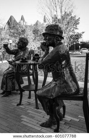 OTTAWA - OCT 30: The Valiant Five statues represent the Five women from Alberta who sought to have women legally considered persons so that women could be appointed to the Senate in 1927. Canada 2015