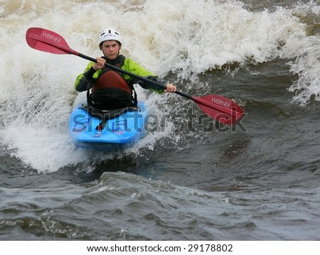 OTTAWA, ONTARIO - APRIL 25: A contestant competing at The Level Six Capital Cup kayaking competition on April 25, 2009 in Ottawa, Ontario, Canada.