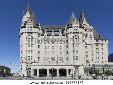 OTTAWA - SEPTEMBER 25: The Fairmont Chateau Laurier hotel September 25, 2013 Ottawa, Canada. The hotel was opened by Sir Wilfrid Laurier, Canada's seventh Prime Minister on June 1, 1912