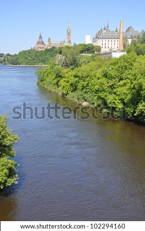 Ottawa skyline, Parliament Buildings and Supreme Court on Ottawa River, Ottawa, Ontario, Canada - stock photo