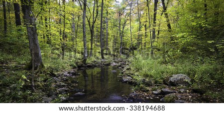 Otter Creek flows peacefully through the autumn woods at Baxter's Hollow, the Nature Conservancy's largest site in the state of Wisconsin. - stock photo