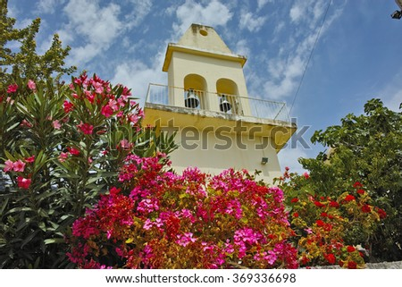 Otthodox church with spring flowers, Kefalonia, Ionian islands, Greece - stock photo