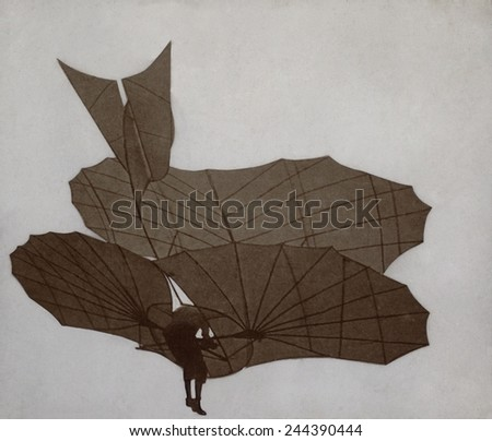 Otto Lilienthal 1848-1896 flying the two surface glider in which he made sustained scientifically documented flights in the early 1890s. He died in a failed flight in 1896. - stock photo