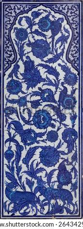 Ottoman Cini tiles in Topkapi Palace - stock photo