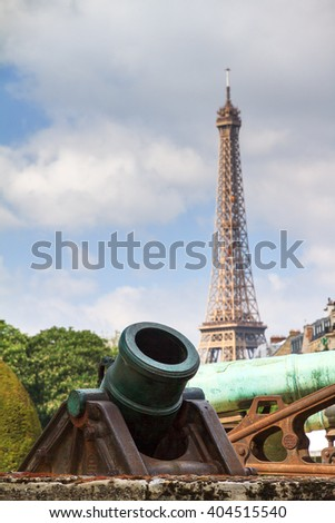 Ottoman Howitzer at Les Invalides in Paris, France, with the Eiffel tower in the background - stock photo
