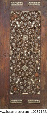Ottoman style wooden ornate door leaf tongue and groove assembled inlaid with ivory, ebony and bone, Cairo, Egypt