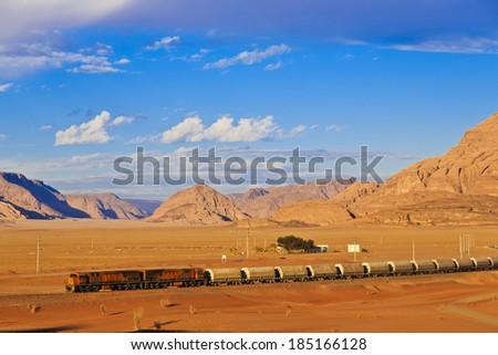 Ottoman train in Arabian desert - stock photo