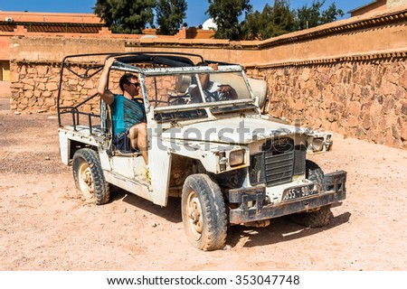 OUARZAZATE, MOROCCO - SEP 6, 2015: Car at the Atlas Corporation Studios, one of the world's largest film studios