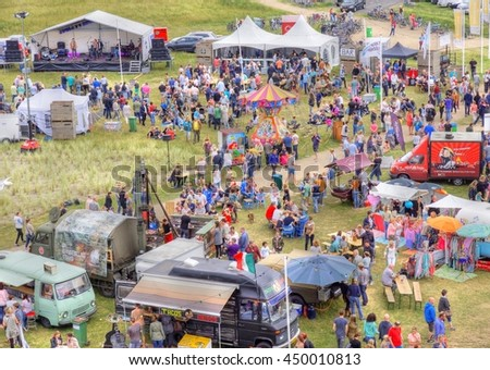OUDDORP, NETHERLANDS - 19-06-2016 ; Image taken at the Food truck festival Smaak aan zee on the brouwersdam, Ouddorp in the Netherlands