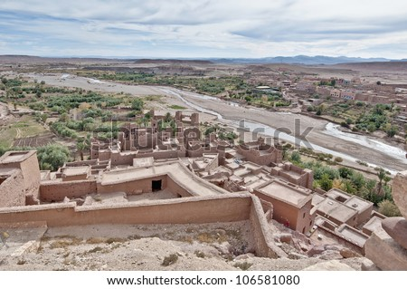 Ounila river as seen from Ait Ben Haddou fortified citadel, Morocco