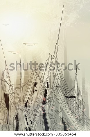our city besieged - fantastic picture about war on another planet in mixed media - stock photo