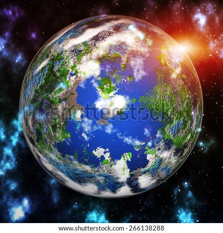 Our earth in cosmos and bright sun. Elements of this image furnished by NASA - stock photo