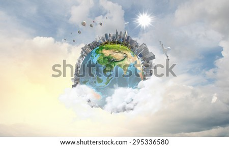Our Earth planet and modern life. Elements of this image are furnished by NASA - stock photo