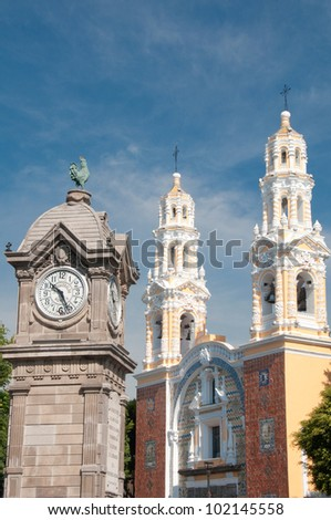 Our Lady of Guadalupe church, Puebla (Mexico) - stock photo
