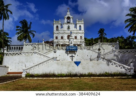 Our Lady of Immaculate Conception Church in Panjim - one of oldest churches in Goa (1540). Panjim (Panaji) - capital of Indian state of Goa and headquarters of North Goa district.  - stock photo
