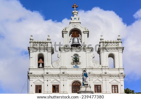 Our Lady of Immaculate Conception Church one of the oldest churches in Goa, which existed from year 1540. Panjim (Panaji) - capital of Indian state of Goa and headquarters of North Goa district. - stock photo