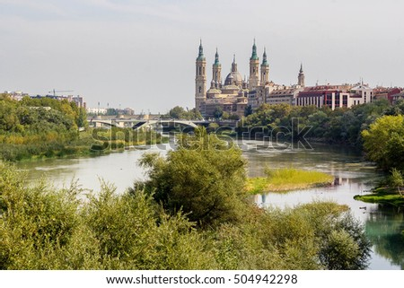 Our Lady of the Pillar Basilica on Ebro River Zaragoza, Spain