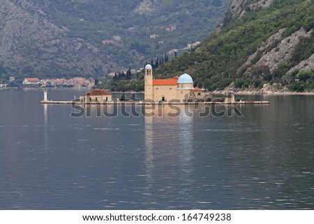 Our Lady of the Rocks Church island in Montenegro - stock photo