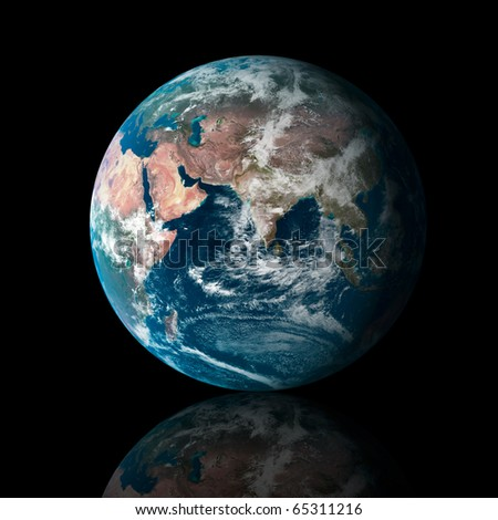 Our own earth over a black background with reflection. Maps comes from earthobservatory/nasa. - stock photo