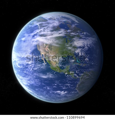 Our own Planet Earth on black background - stock photo