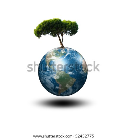 our planet Earth and the tree - a symbol of environmental protection