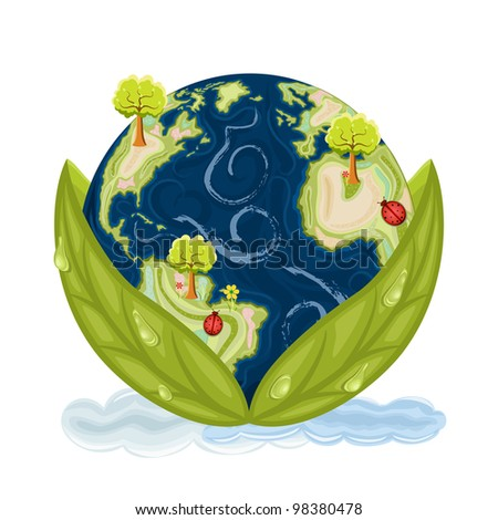 Our planet Earth inside green leaves with drops of water. Preservation of Nature. Icon isolated over white background.