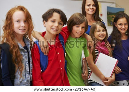 Our teacher is the best - stock photo
