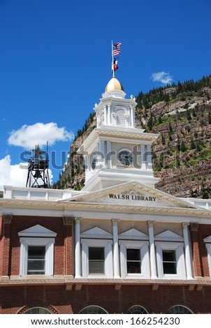 Ouray city hall and Walsh Library in Ouray, CO, USA. Ouray was a mining town in the 19th century but relies now on tourism and is called the Switzerland of America.  - stock photo