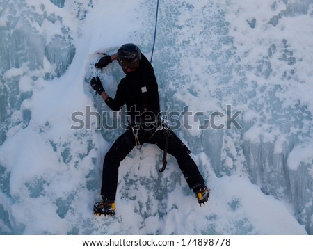 Ouray, Colorado-January 8, 2012: Annual Ice Festival with ice climbing competition.