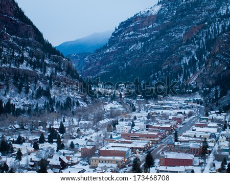Ouray, Colorado-January 7, 2012: Overlook of downtown Ouray in winter. - stock photo