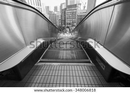 Out door escalator from Tokyo - stock photo