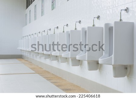 out door Urinals Men public toilet - stock photo