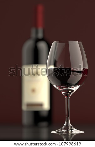 Out of focus Bottle of red wine with dark glass on bottom and top reflective.