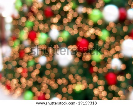 Out of focus Christmas tree background showing beautiful abstract light effect