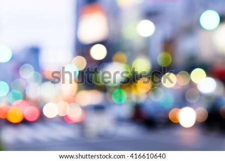 Out of focus lights in tokyo street at night,Ueno Hirokoji,Tokyo Japan - stock photo