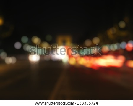 Out-of-focus shimmering city background of Champs-Elyzees, Paris, France - stock photo