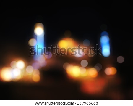 Out-of-focus shimmering urban city night background of Hagia Sophia, Istanbul, Turkey - stock photo