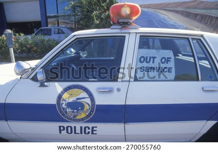 Out of service police car, Santa Monica, California
