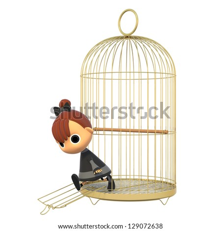 Out of the cage. - stock photo