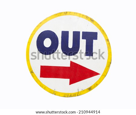 Out  Sign Shows People Way Exit Public Building - stock photo