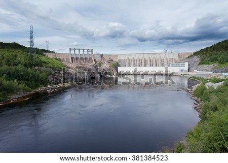 Outardes River Hydro Dam electric power station, Manicouagan, Quebec, Canada