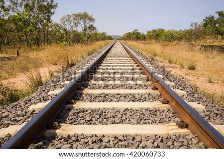 Outback Northern Territory Australian railway track. This is the line between Alice and Darwin, built for the new Ghan.