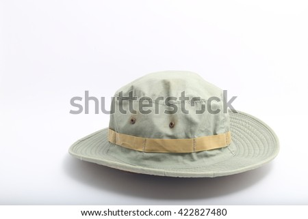 Outback safari green hat isolated on white background