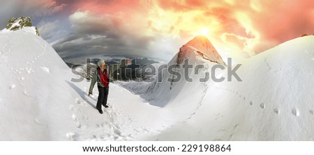 Outdoor activities winter air on the tops of mountain is a healthy way of life and passion for the brave people that requires experience and knowledge to survive in the cold and wind