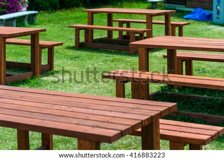 Outdoor activity concept.  Wooden bench at park