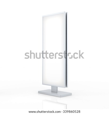 Outdoor Advertising Stand Banner Shield Display, Advertising. Isolated On White Background.