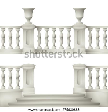Outdoor and park elements : balustrade , decorative vase ,set of landscape elements - stock photo