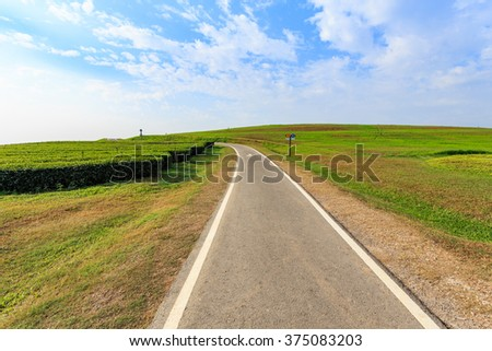 Outdoor asphalt road, exercise bike paths on the hill in Chiang Rai, Thailand